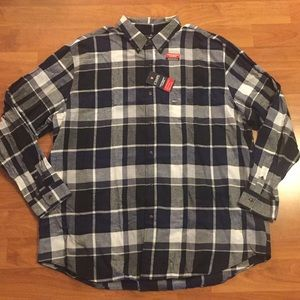 Chaps Performance Flannel Shirt Size Navy  3XLT